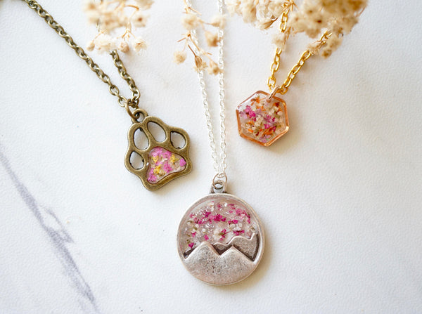 Real Dried Flowers in Resin, Silver Mountain Necklace in Pink and White