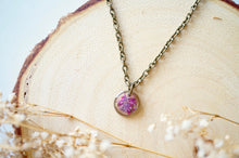 Real Dried Flowers in Resin Necklace, Small Bronze Circle in Pinks and Purple