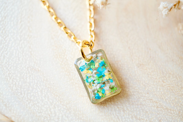 Real Dried Flowers in Resin Necklace, Small Gold Rectangle in Blue Green White Yellow