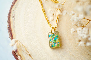 Real Pressed Flowers in Resin Necklace, Small Gold Rectangle in Blue Green White Yellow