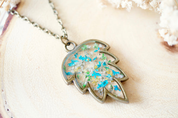 Real Dried Flowers and Resin Necklace, Bronze Leaf in Blue Green Yellow White