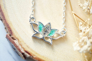 Real Pressed Flowers and Resin Necklace Silver Lotus Flower in Teal and Deep Purple