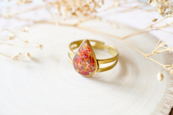 Real Pressed Flower and Resin Ring, Small Gold Teardrop in Orange Red Purple