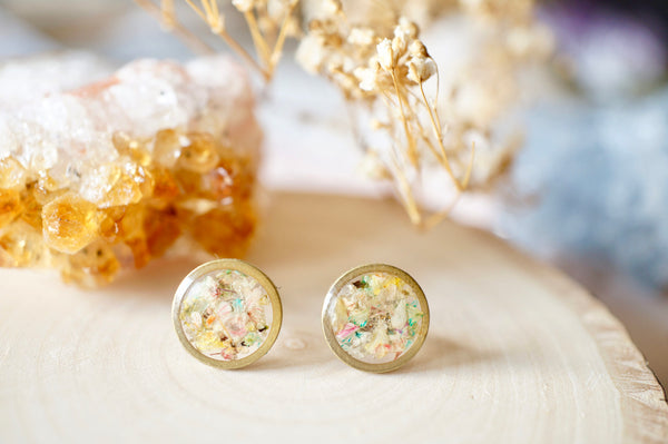 Real Dried Flowers and Resin Stud Earrings, Raw Brass Circle in Pastel Mix