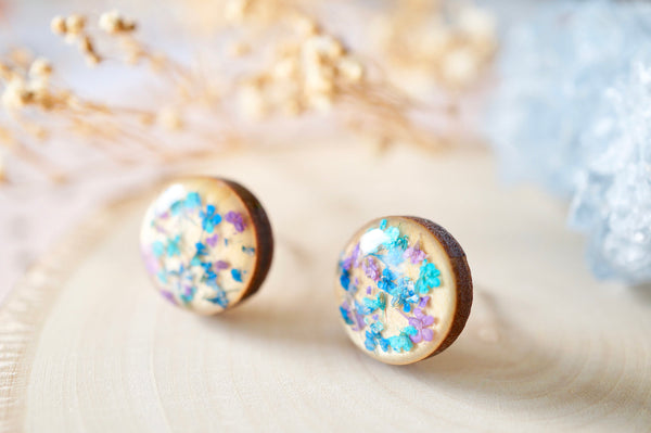 Real Dried Flowers and Resin on Wood Stud Earrings in Teal Blue Purple