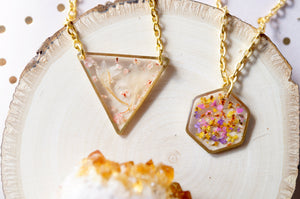 Real Dried Flowers in Resin Necklace, Gold Hexagon in Yellow Orange Pink Purple