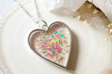 Real Dried Flowers in Resin Necklace, Silver Heart in Teal Yellow Peach Pink