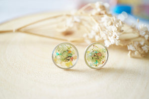 Real Dried Flowers and Resin Stud Earrings, Silver Circle in Pastel Mix