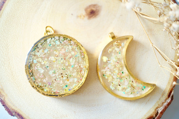 Real Dried Flowers and Resin Necklace, Gold Moon Necklace in Pastel Mix