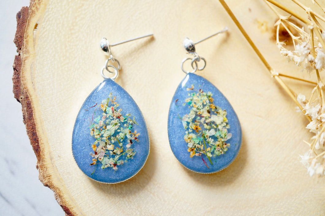 Real Dried Flowers and Resin Earrings, Large Silver Teardrops in Blue and Pastel Mix