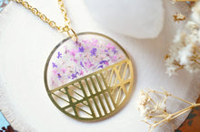 Real Dried Flowers in Resin, Brass Circle Necklace in Purple Mix