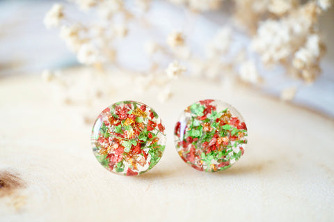 Real Dried Flowers and Resin Circle Stud Earrings in Red and Green - Christmas Gift