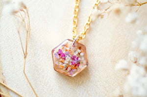 Real Dried Flowers in Resin Necklace, Small Rose Gold Hexagon in Purple Pink Orange White