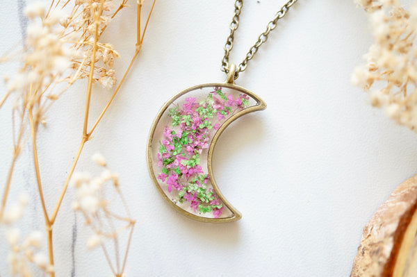 Real Pressed Flower and Resin Moon Necklace in Green and Pink