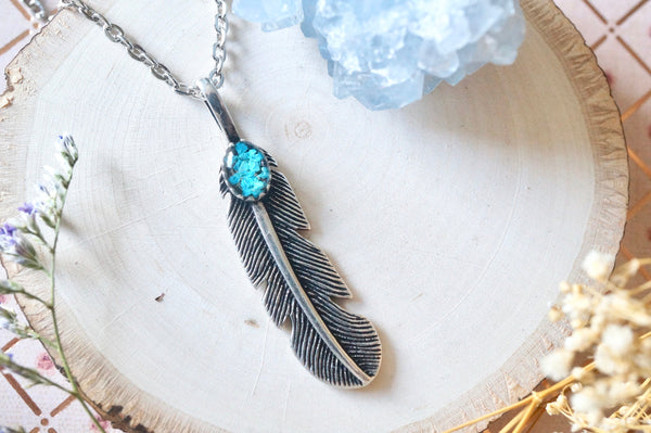 Real Pressed Flowers and Resin Necklace, Silver Feather in Teal