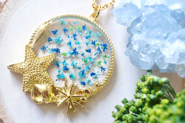Real Dried Flowers in Resin, Gold Circle With Starfish Necklace in Blue Teal Green
