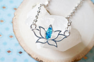 Real Pressed Flowers and Resin Necklace Silver Lotus Flower in Teal and Blue