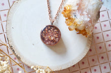 Real Dried Flowers in Resin Necklace, Thick Copper Circle in  Rose Gold Mix
