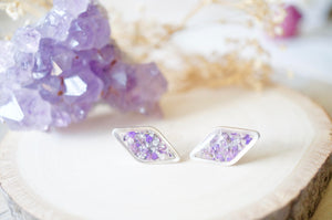 Real Dried Flowers and Resin Diamond Stud Earrings in Purple and Silver Flake