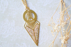 Real Dried Flowers in Resin, Brass Necklace in Baby Pink and White
