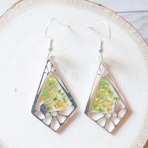 Real Pressed Flowers and Resin Earrings, Drops in Green and Yellow