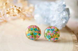 Real Dried Flowers and Resin on Wood Stud Earrings in Teal Green Pink Yellow