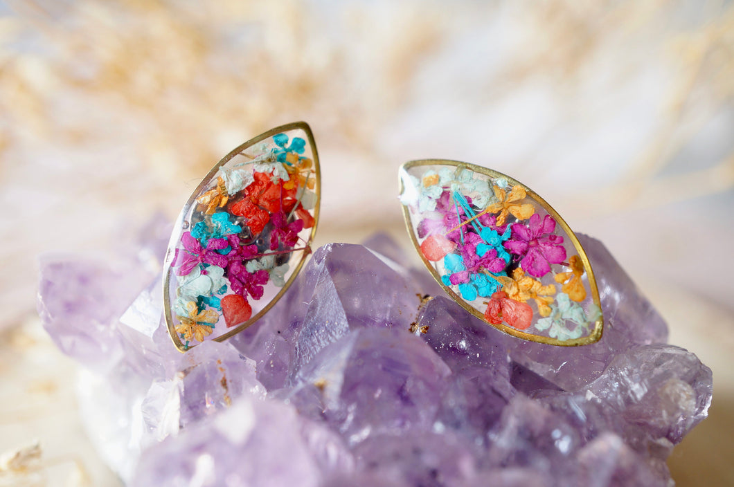 Real Dried Flowers and Resin Eye Stud Earrings in Jewel Mix