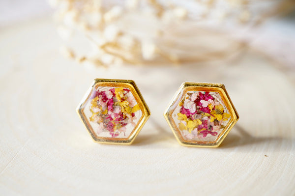 Real Dried Flowers and Resin Hexagon Gold Stud Earrings in Yellow Pink Magenta