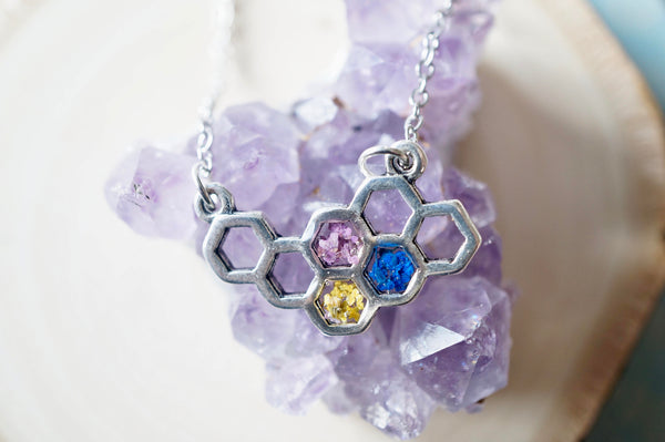 Real Dried Flowers in Honeycomb Resin Necklace in Purple Blue Yellow