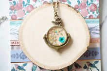 Real Dried Flowers in Resin Anchor Necklace in Teal and Pastel Mix