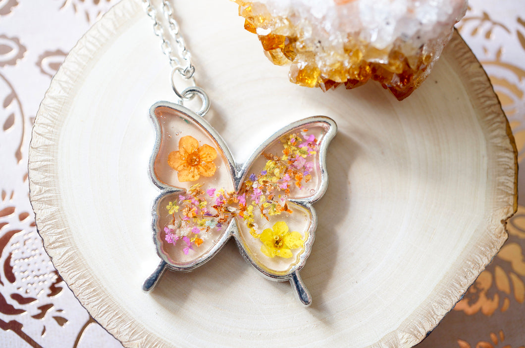 Real Dried Flowers and Resin Necklace, Silver Butterfly in Orange Yellow and Pinks