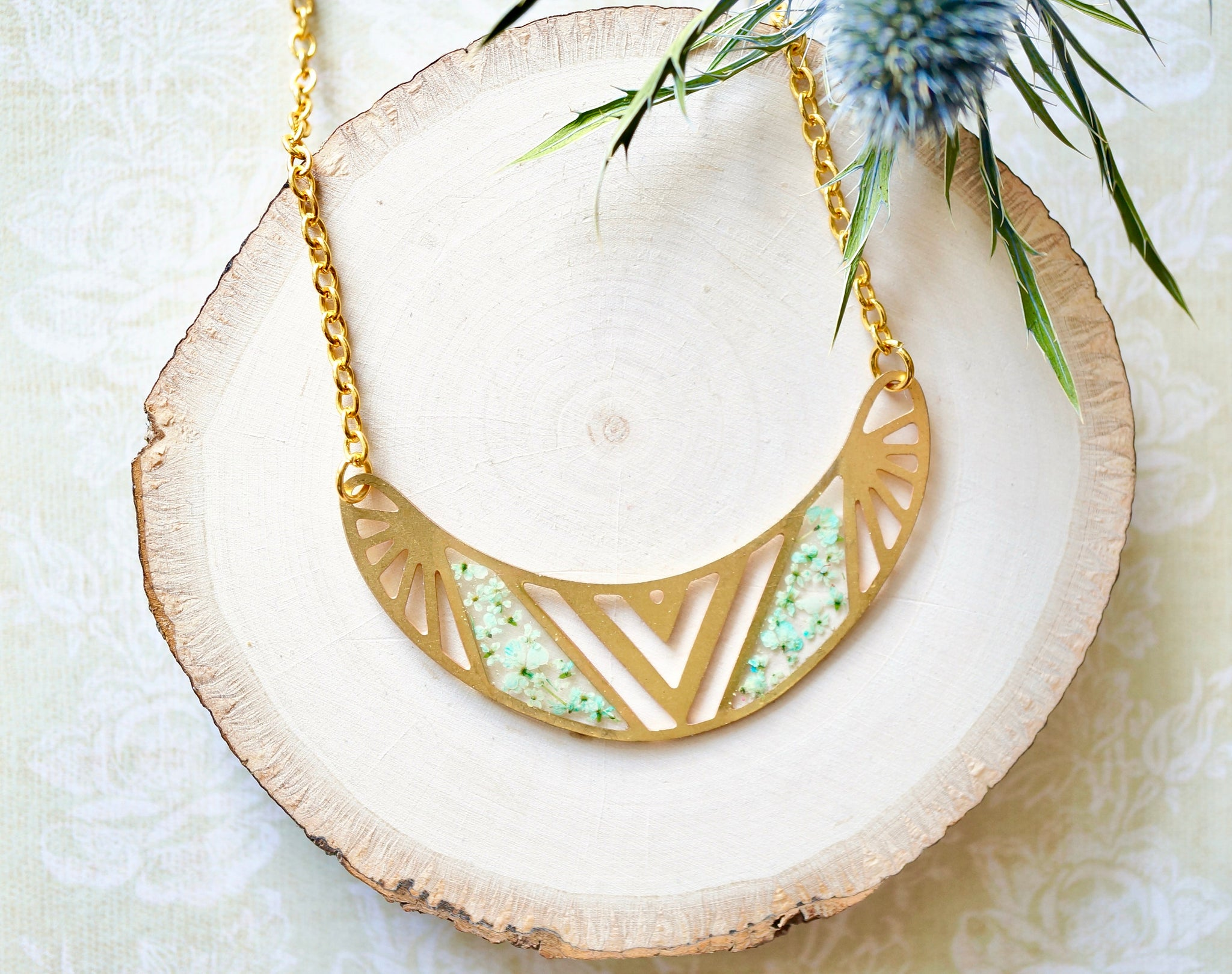 Real Flowers and Resin Necklace, Brass Tribal in Mint