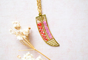 Real Dried Flowers in Resin, Brass Tribal Horn Necklace in Teal Pink Yellow