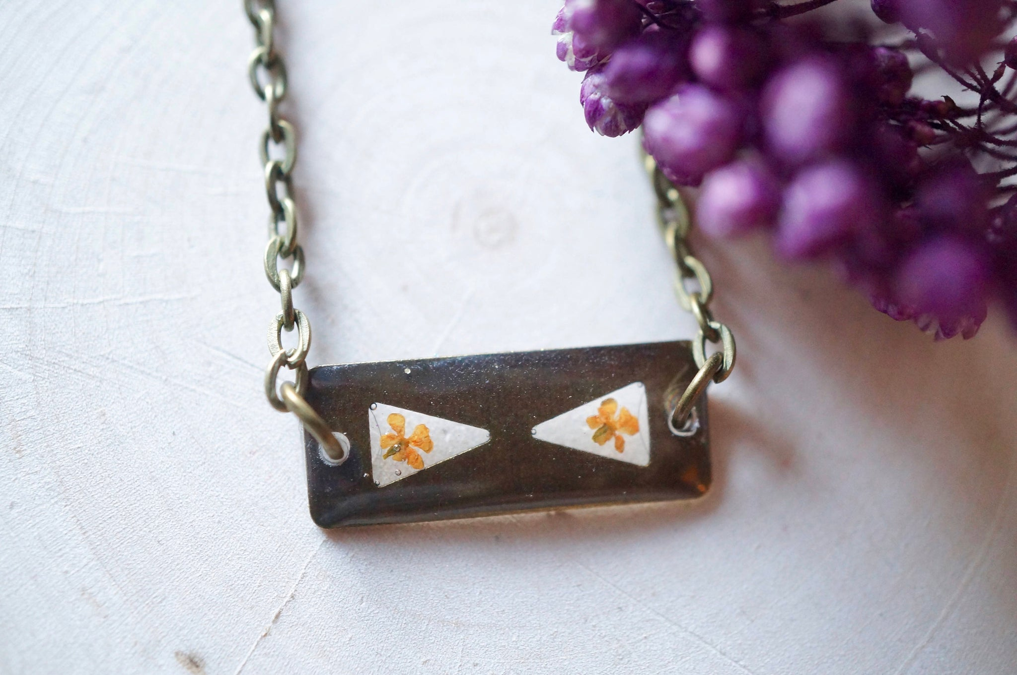 Real Dried Flowers in Resin, Tiny Silver Planet Necklace in Pink and Yellow