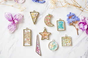 Real Pressed Flowers in Resin, Gold Moon Necklace in Yellow Pink Teal