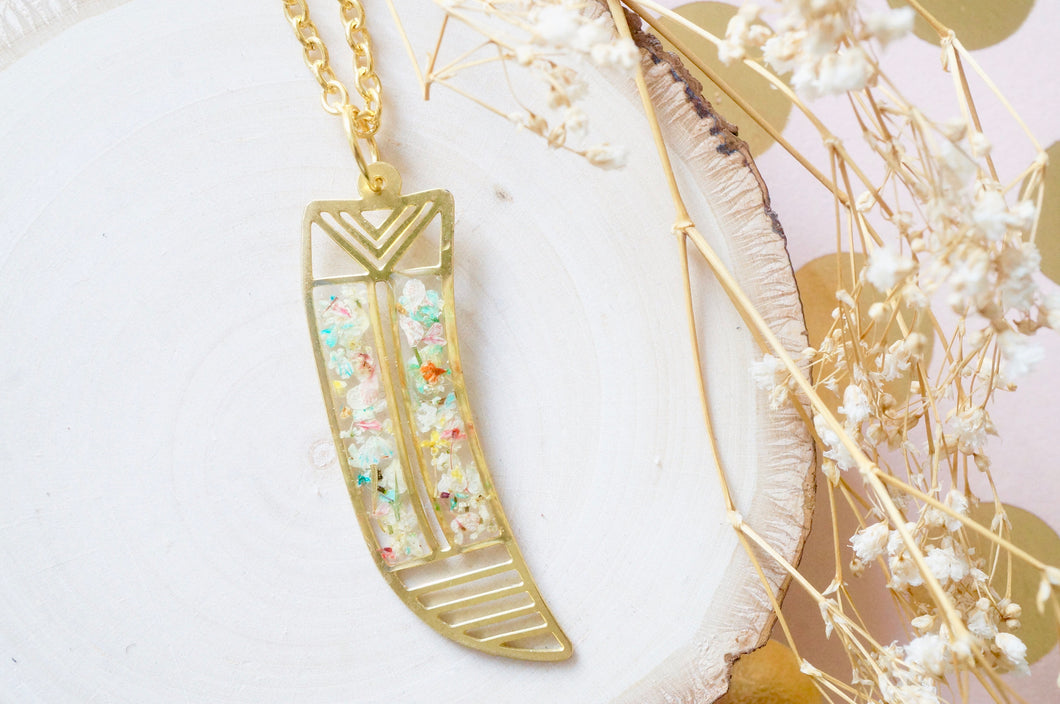Real Dried Flowers in Resin, Brass Tribal Horn Necklace in Pastel Mix