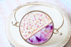Real Dried Flowers and Resin Bracelet in Pink and Gold