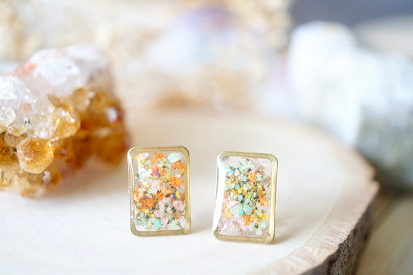 Real Dried Flowers and Resin Stud Earrings, Gold Rectangle in Orange Yellow Pink Mint