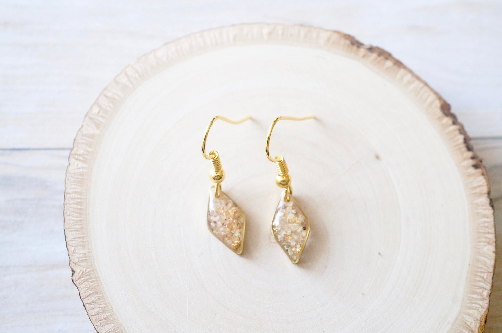 Real Dried Flowers and Resin Earrings in Gold with Whites Champagne Mix with Real Gold Foil