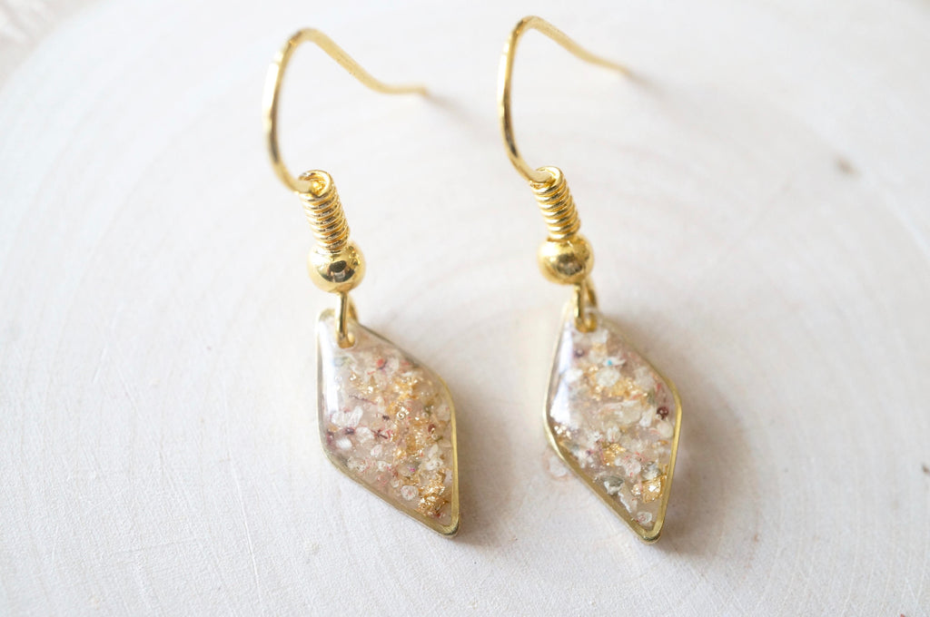 fb5a7cd7f ... Real Dried Flowers and Resin Earrings in Gold with Whites Champagne Mix  with Real Gold Foil ...