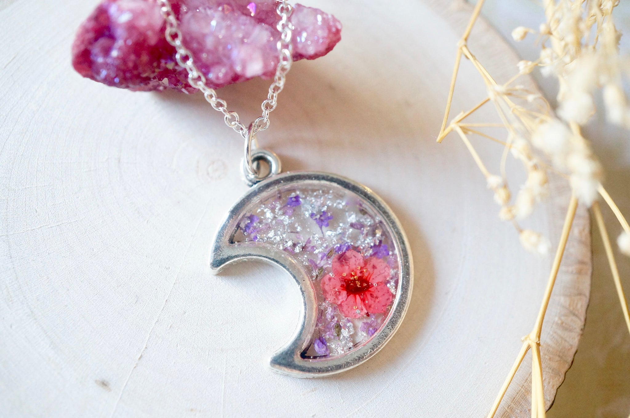 Real Dried Flowers and Resin Necklace, Silver Moon in Purple Pink and Silver Foil Flakes