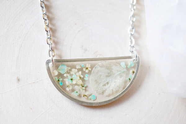 Real Dried Flowers in Resin Necklace, Silver Half Circle in White and Mint