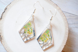 Real Dried Flowers and Resin Earrings, Silver Drops in Green and Yellow