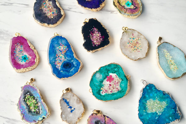 CUSTOM geode - Real Pressed Flowers in Resin Necklaces  - Geode Druzy in your color choice