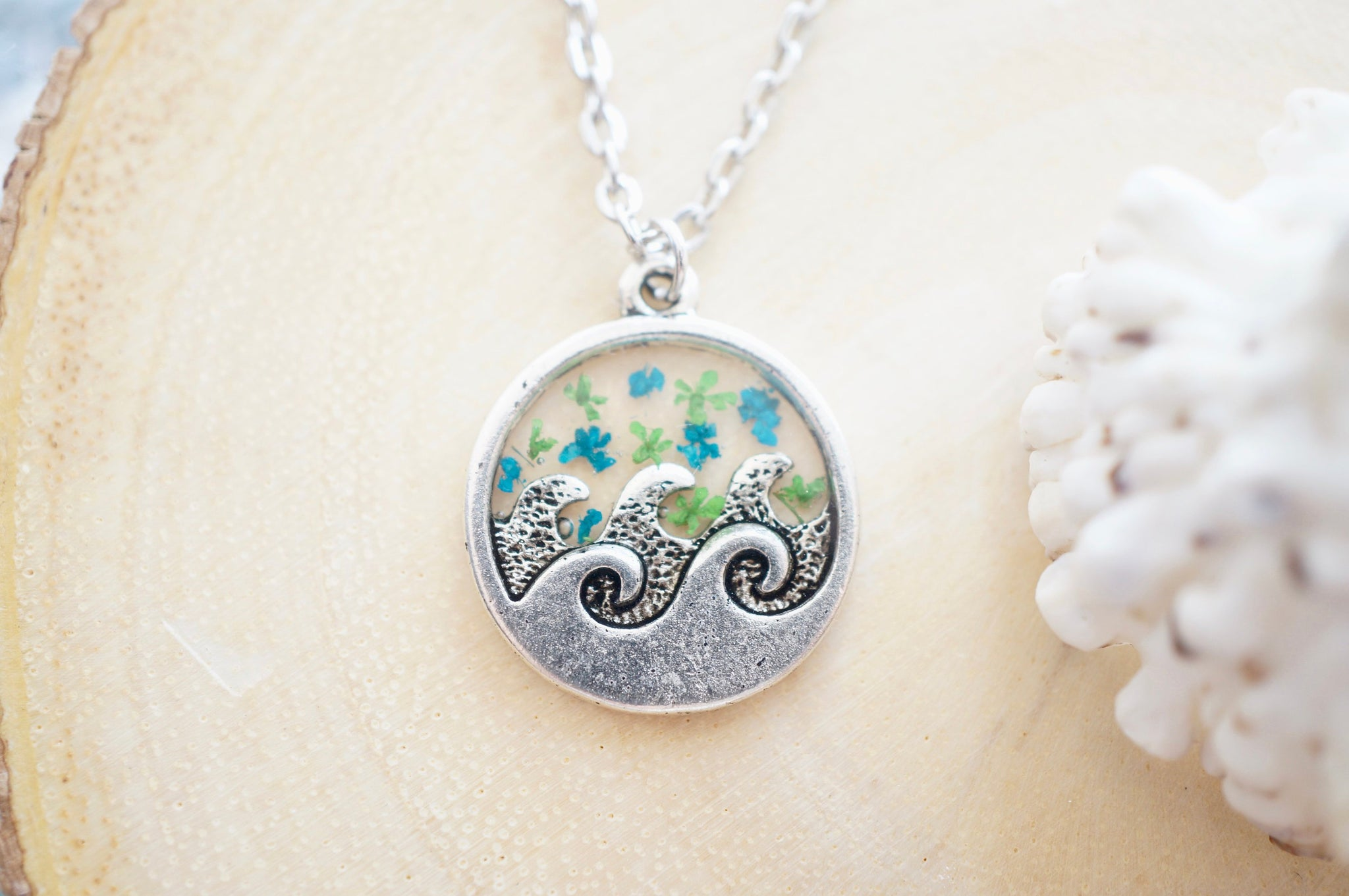 Real Pressed Flowers in Resin, Silver Circle Wave Necklace in Teal and Green