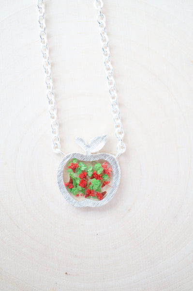 Real Pressed Flowers in Resin, Silver Apple Necklace in Green and Red