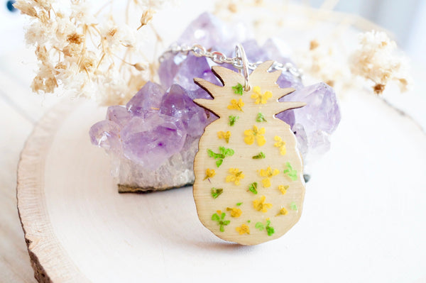 Real Pressed Flowers in Resin, Wood Pineapple Necklace in Yellow Green
