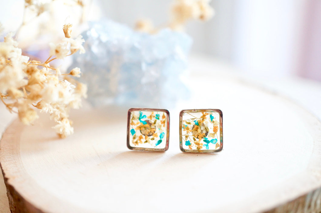 Real Pressed Flowers and Resin, Silver Square Stud Earrings in Orange White Teal