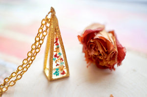 Real Pressed Flowers in Resin, Gold 3D Triangle Necklace in Teal Orange Red, Fall Jewelry, Dried Flowers, Autumn Jewelry