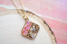 Real Pressed Flowers and Resin Gold Necklace, Diamond Crystals in Pink Red